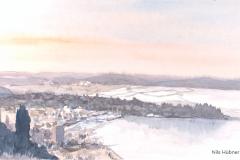 Blick nach Portoroz, Slowenien Aquarell; 20x 40 cm; 2018