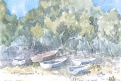 Boote am Strand, Hvar, Kroatien Aquarell; 24 x 32 cm; 2013