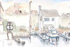 Bootshäuser, Visteviga, Norwegen; Auquarell und Feder, 15 x 42; 2017