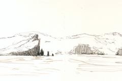 Felsküste, Faroer Inseln, Zeichnung; 13 x 41; 2016