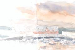 Fischereihafen, Djupivogur, Island; Aquarell, 12,2 x 32,5; 2016