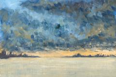 Unwetter, Rönne Hafen, Bornholm, DK Öl; 24 x 32 cm; 2020